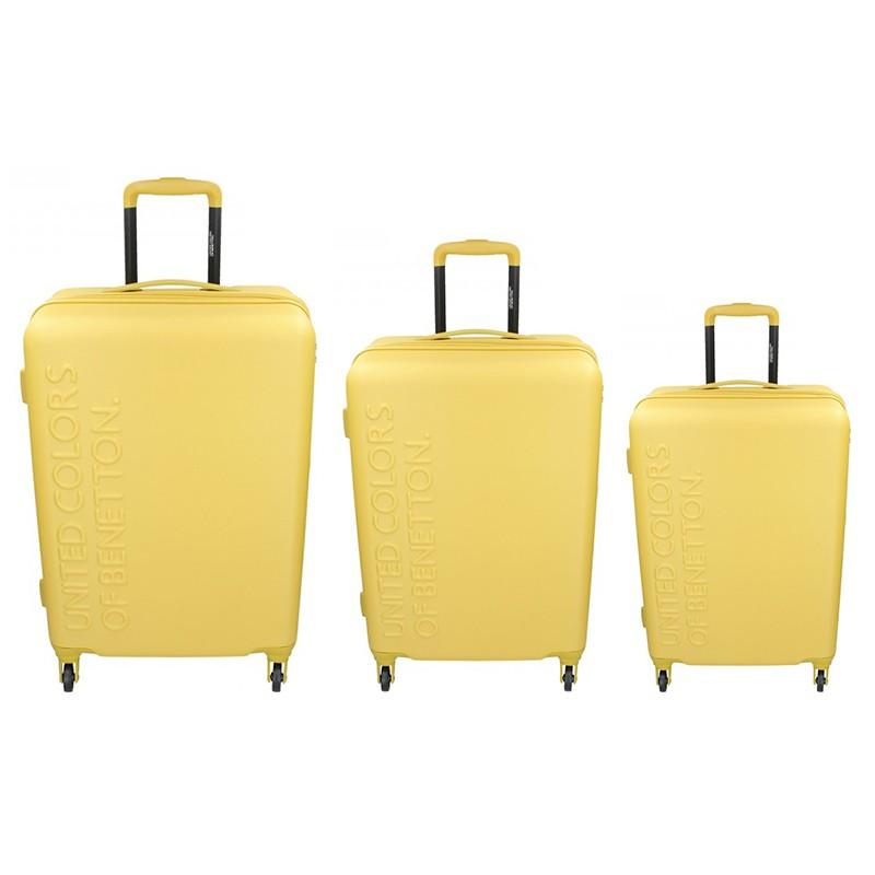Levně Sada 3 cestovních kufrů United Colors of Benetton Aura S,M,L - žlutá