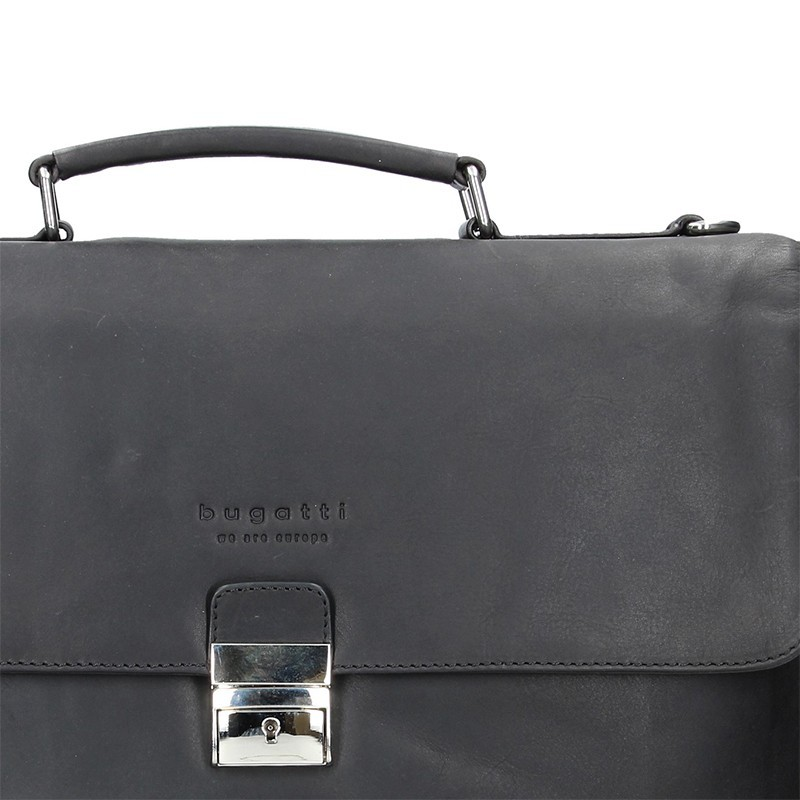 Luxusní pánská kožená aktovka Bugatti Fenix - černá
