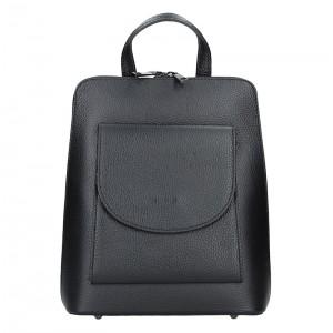 Kožený dámský batoh Unidax Malva - černá