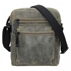 Pánská kožená taška Daag Moneto - zeleno-hnědá