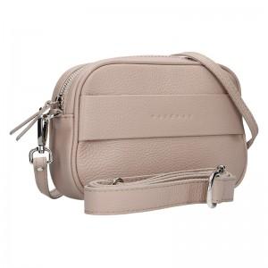 Trendy dámská kožená ledvinko crossbody kabelka Facebag - růžová