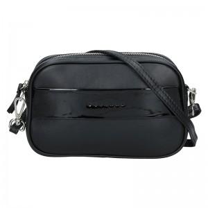 Trendy dámská kožená ledvinko crossbody kabelka Facebag - černá