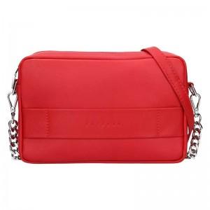 Trendy dámská kožená crossbody kabelka Facebag Ninas - červená