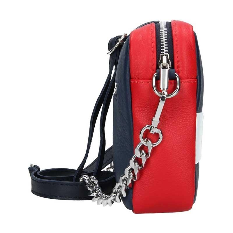 Trendy dámská kožená crossbody kabelka Facebag Ninas - modro-červeno-bílá