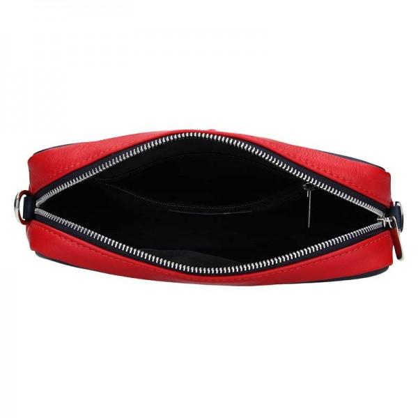 Dámská kožená crossbody kabelka Facebag Ninas - modro-červeno-bílá