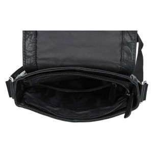 Pánská kožená taška přes rameno Lagen Memphis - černá