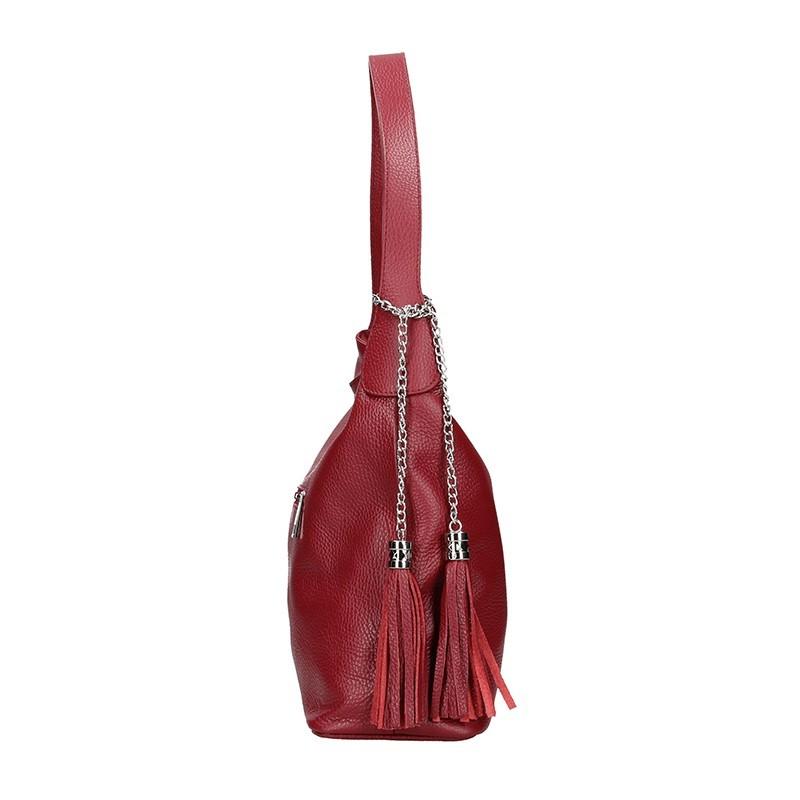 Dámská kožená kabelka Vera Pelle Linda - vínová