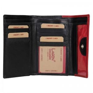 Dámská kožená peněženka Lagen Gina - červeno-černá