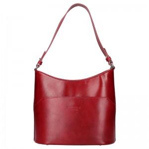 Dámská kožená kabelka Vera Pelle Jenny - tmavě červená