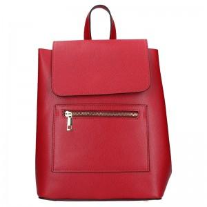 Dámská kožený batoh Vera Pelle Tinna - červená