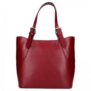 Dámská kožená kabelka Vera Pelle Sindy - červená