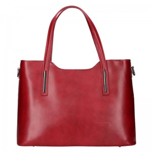 Dámská kožená kabelka Vera Pelle Hana - červená