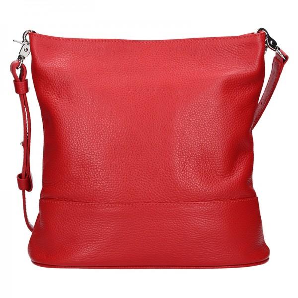 Dámská kožená crossbody kabelka Facebag Karla - červená