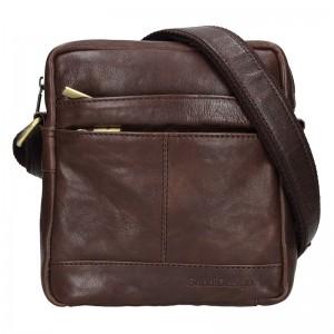 Panská kožená taška přes rameno SendiDesign Jokl - tmavě hnědá