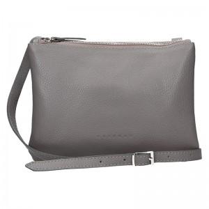 Trendy dámská kožená crossbody kabelka Facebag Beatrice - šedá