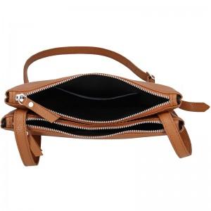 Trendy dámská kožená crossbody kabelka Facebag Beatrice - hnědá