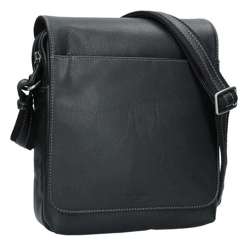 Pánská kožená taška přes rameno Hexagona Norbert - černá