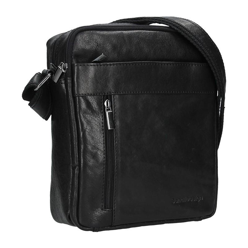 Panská kožená taška přes rameno SendiDesign Kolin - černá