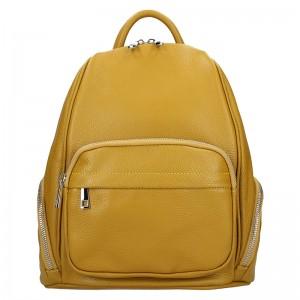 Dámský kožený batoh Delami Elza - žlutá
