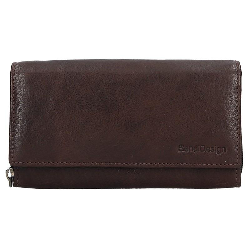 Dámská kožená peněženka SendiDesign Aneta - tmavě hnědá