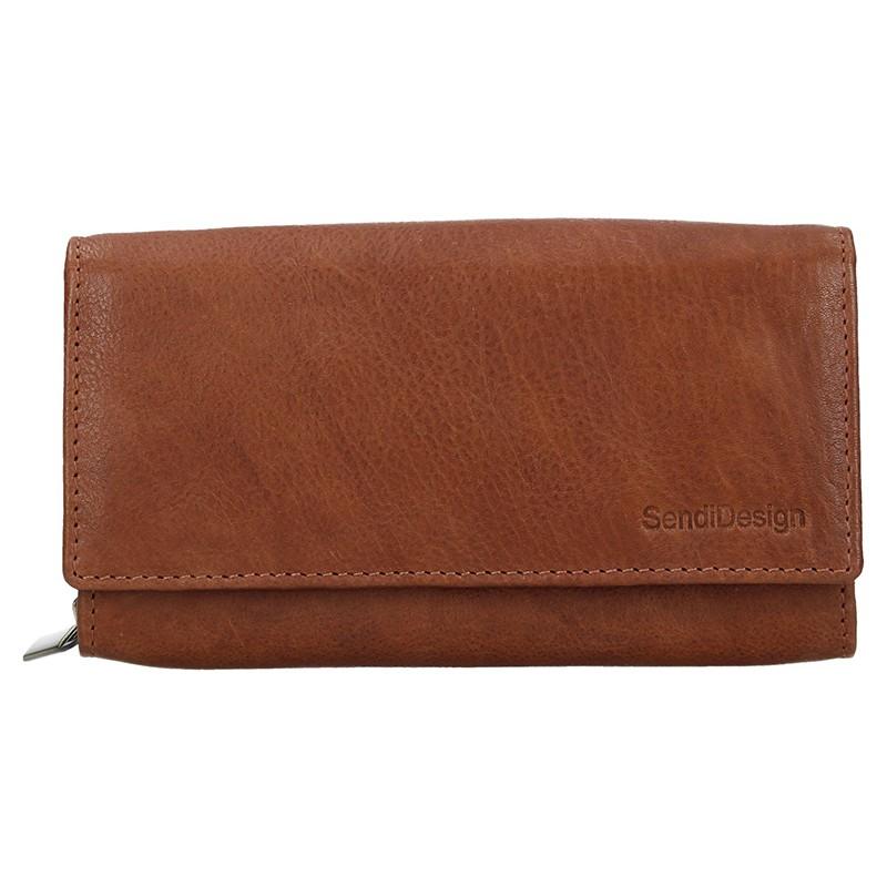 Levně Dámská kožená peněženka SendiDesign Aneta - koňak
