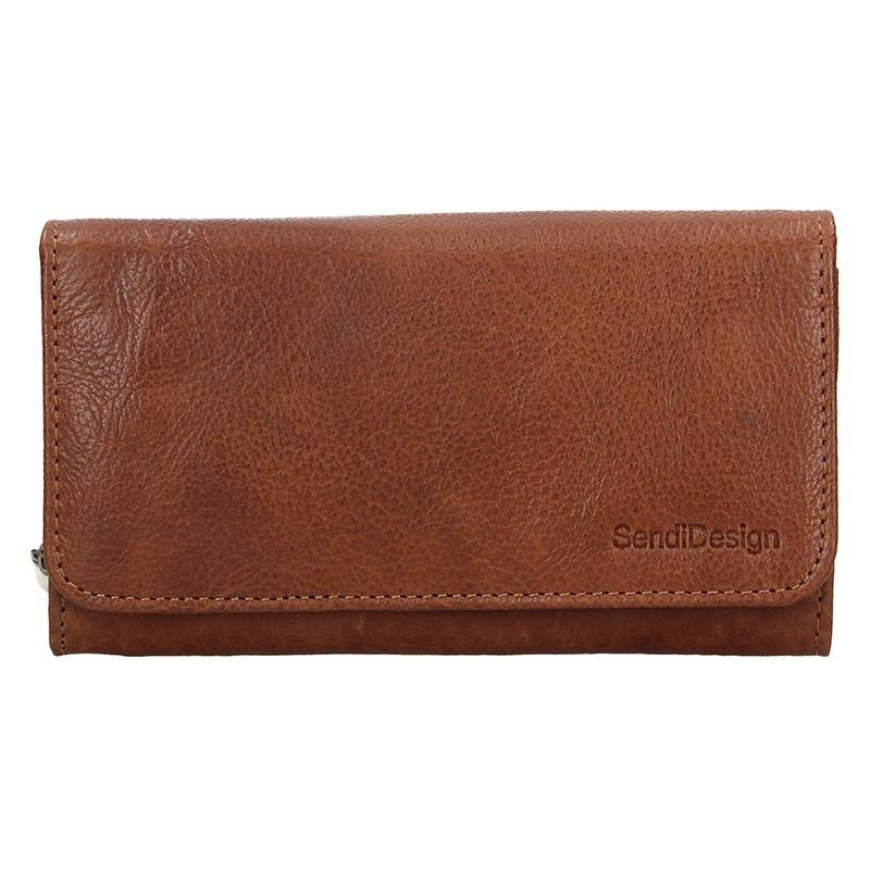 Dámská kožená peněženka SendiDesign Monic - koňak