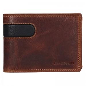 Pánská kožená peněženka SendiDesign Amarel - hnědo-černá