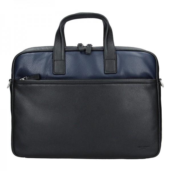 Pánská kožená taška přes rameno Hexagona Amarel - černo-modrá