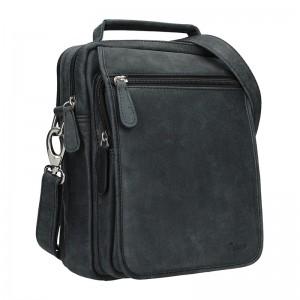 Pánská kožená taška Delami Albert - černá
