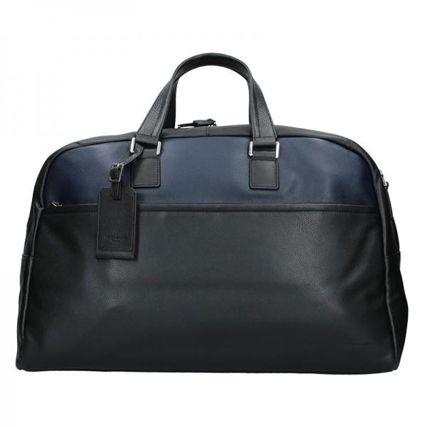 Pánská celokožená cestovní taška Hexagona Tobias - černo-modrá