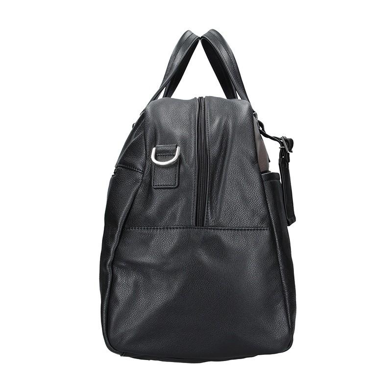 Pánská celokožená cestovní taška Hexagona Tobias - černo-hnědá