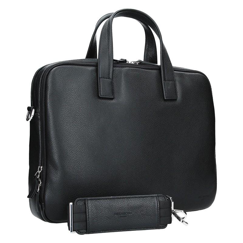 Pánská kožená taška přes rameno Hexagona Nicolas - černá