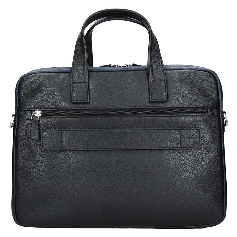 Pánská kožená taška přes rameno Hexagona Nicolas - černo-modrá