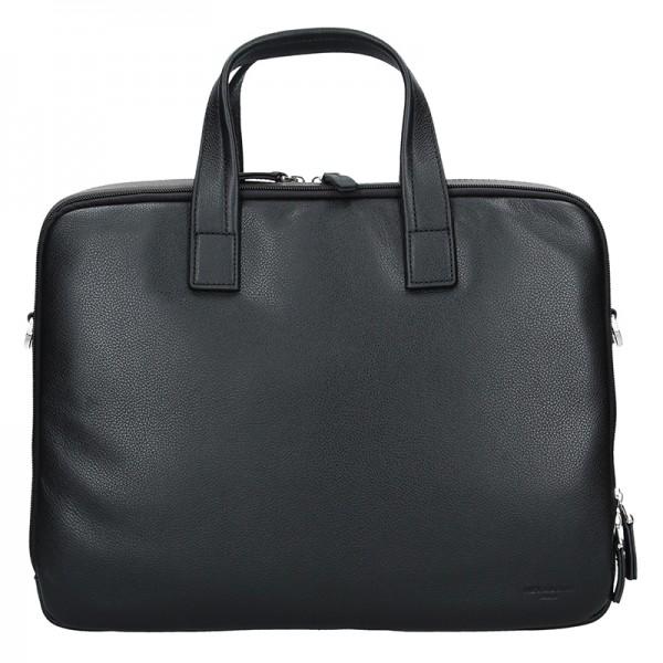 Pánská kožená taška přes rameno Hexagona Nicolas - černo-hnědá