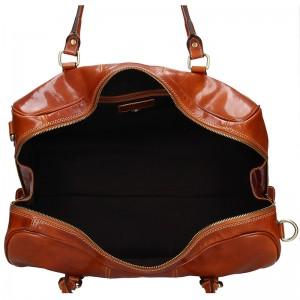 Pánská celokožená cestovní taška Vera Pelle Milano - koňak