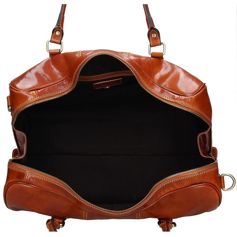 Pánská celokožená cestovní taška Vera Pelle Milano - hnědá