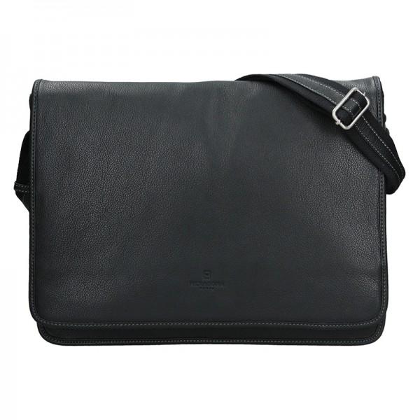 Pánská celokožená taška přes rameno Hexagona Konrad - černá