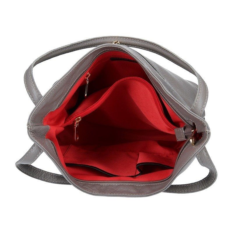 Dámská kožená kabelka Facebag Melba - šedá