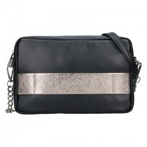 Trendy dámská kožená crossbody kabelka Facebag Ninas - černo-zlatá
