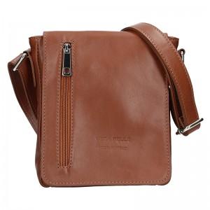 Pánská kožená taška Vera Pelle Matteo - koňak