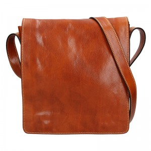 Pánská kožená taška Delami Alessio - koňak