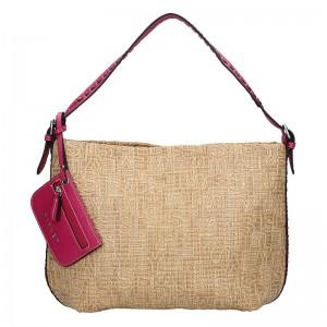 Dámská kabelka Sisley Lisa - béžovo-fialová