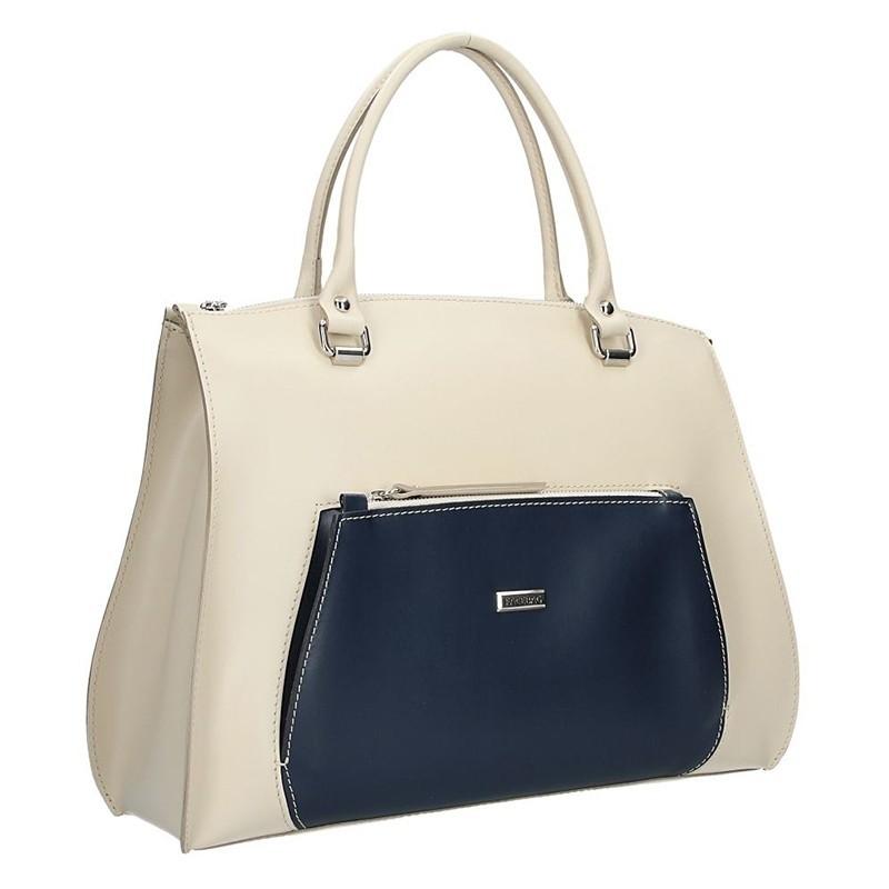 Dámská kožená kabelka Facebag brita - béžovo-modrá