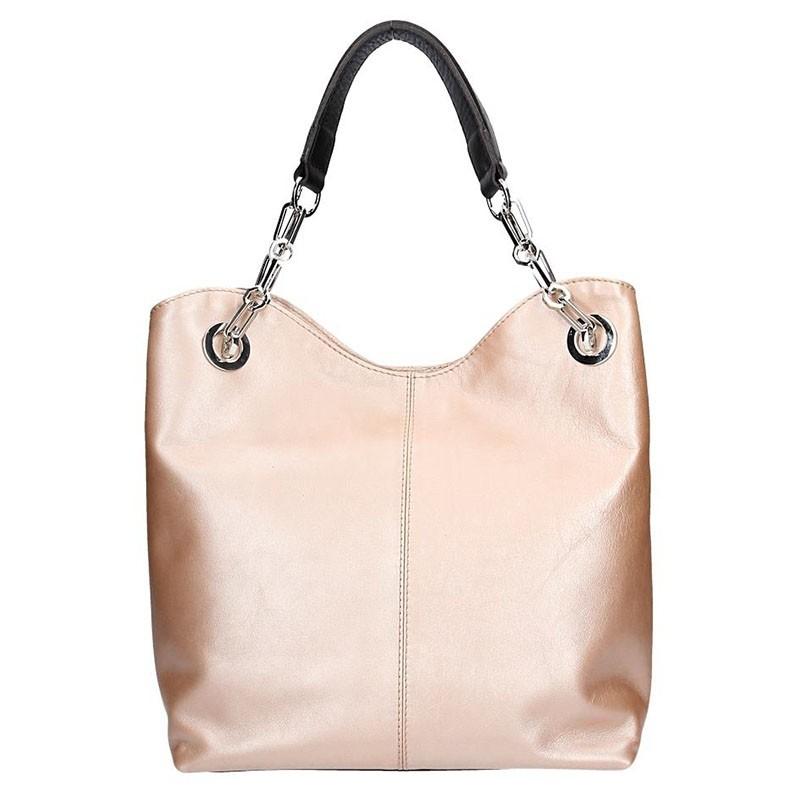 Dámská kožená kabelka Facebag Sofia - metalická růžová
