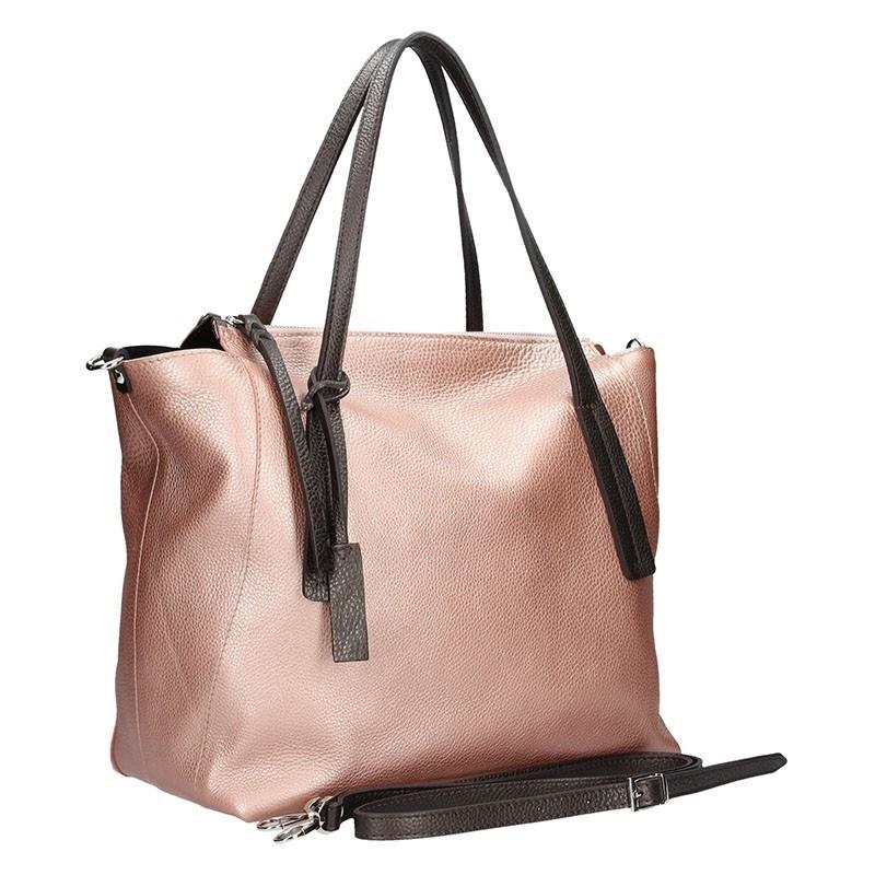 Dámská kožená kabelka Facebag Aurora - metalická růžová