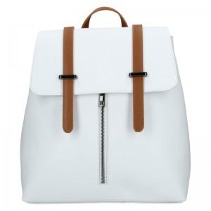 Dámský kožený batoh Delami Beathag - bílo-hnědá