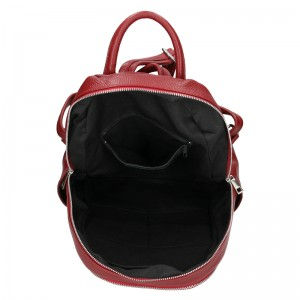 Dámský kožený batoh Delami Nevola - tmavo červená