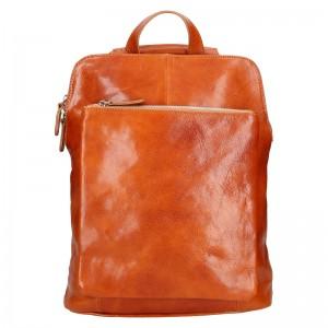 Dámský kožený batoh Delami Dione - koňak