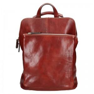 Dámský kožený batoh Delami Dione - hnědá