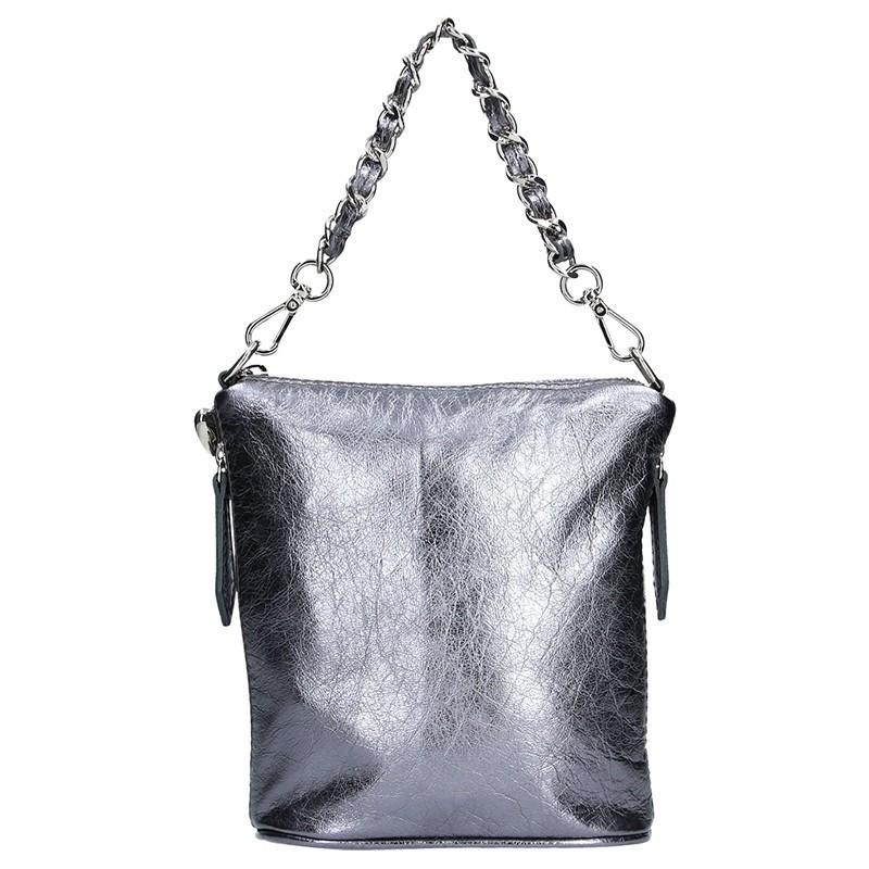 Dámská kožená kabelka Facebag Roberta - stříbrná